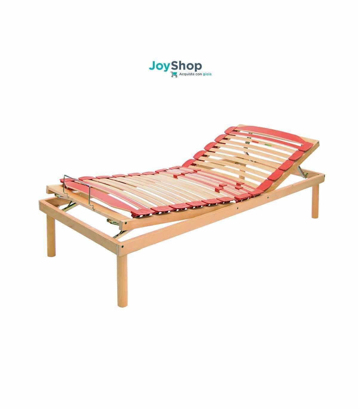 Rete per ogni tipo di materasso a doghe in legno con alza testa e alza  piedi a movimento manuale - Venere M
