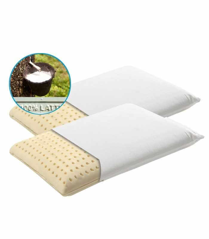 Coppia cuscini in lattice naturale in OFFERTA con federa Cotone Sfoderabile - NATURE H12