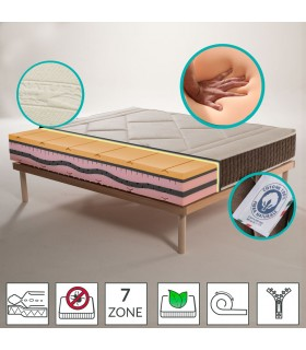 Mattress Memory in multiwaves soia H25 - Rose MADE IN ITALY