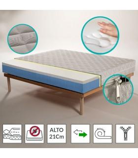 Materasso Memory ortopedico al miglior prezzo, rigido alto 21 cm con tessuto Argento - ECOJOY 13+7