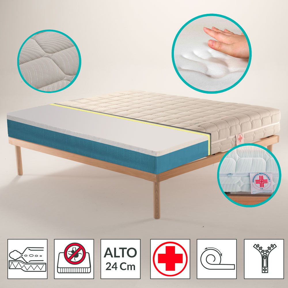 Materassi Lattice E Memory Foam.Mattress Danjoy H24 Orthopedic Memory Removable Hypoallergenic